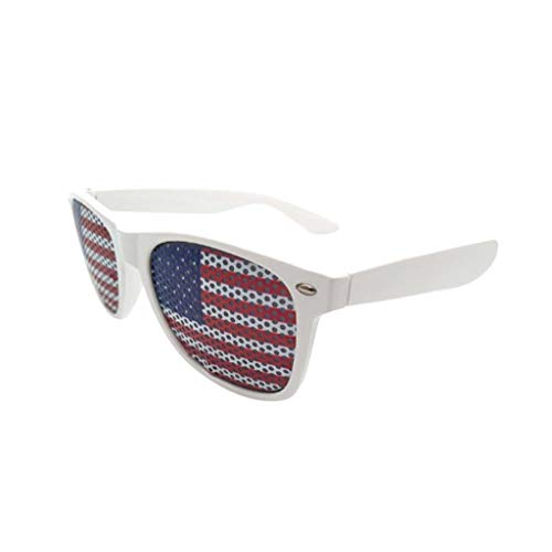 American Flag Design Curtain Sunglasses, Independence Day Outdoor Party Decorative Glasses, Patriotic 4th of July USA Shutter Glasses American Flag Sunglasses (White)