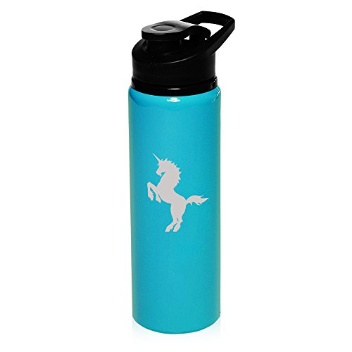 25 oz Aluminum Sports Water Travel Bottle Unicorn (Light-Blue) (Unicorn Water Bottle compare prices)