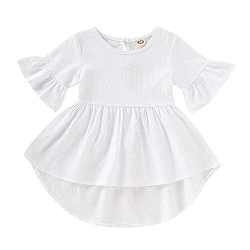 kaifongfu Toddler Kids Dresses Baby Girls Irregular Skirt Flare Short Sleeve Solid Color Princess Dress Clothes(White,90)