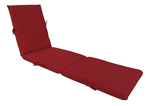 Bossima Indoor/Outdoor Rust Red Chaise Lounge Cushion,Spring/Summer Seasonal Replacement Cushions. Red Outdoor Chaise