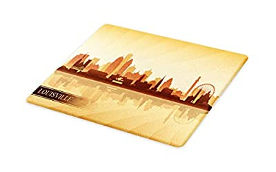 Lunarable Kentucky Cutting Board, Silhouette of Louisville Buildings Bridge and Ferris Wheel Illustration, Decorative Tempered Glass Cutting and Serving Board, Large Size, Brown Tan and Beige