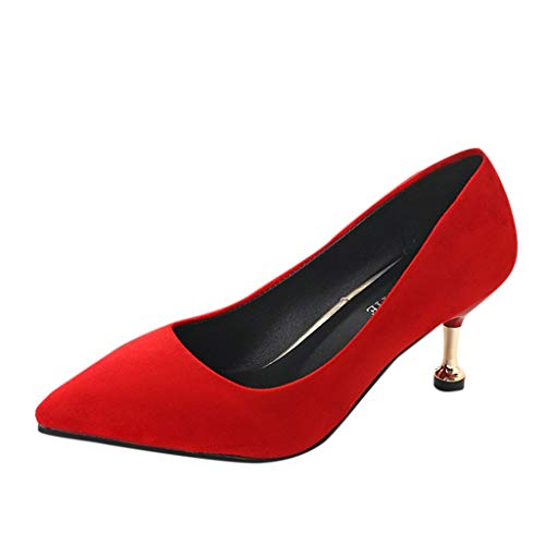 Aunimeifly Womens Vogue Solid Color Pointed Toe Low-Heels Shallow Stilettos Slip-On Flock Pumps Red
