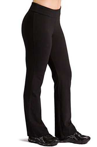 Fishers Finery Women's Ecofabric Classic Bootleg Yoga Pant; Athletic Pant (Black, L) Cotton Fleece Straight Leg Pant