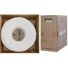 PcConnectTM RG6/U Quad Shielded Coaxial Cable, Plenum Rated, 18AWG Bare Copper Conductor, White, Pullbox, 1000 feet