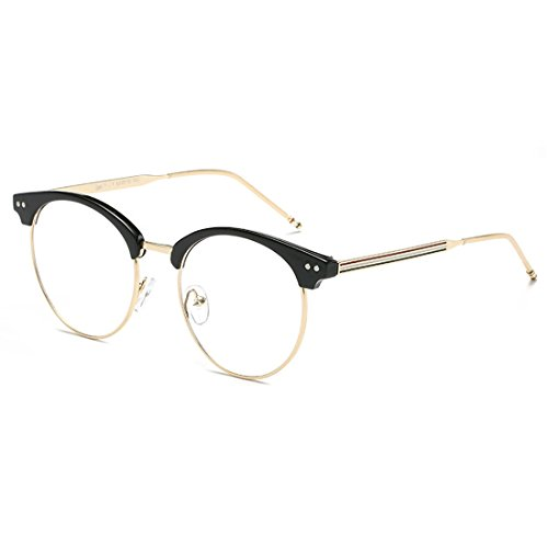 D.King Vintage Optical Round Eyewear Eye Glasses Frame with Clear Lenses Black Gold