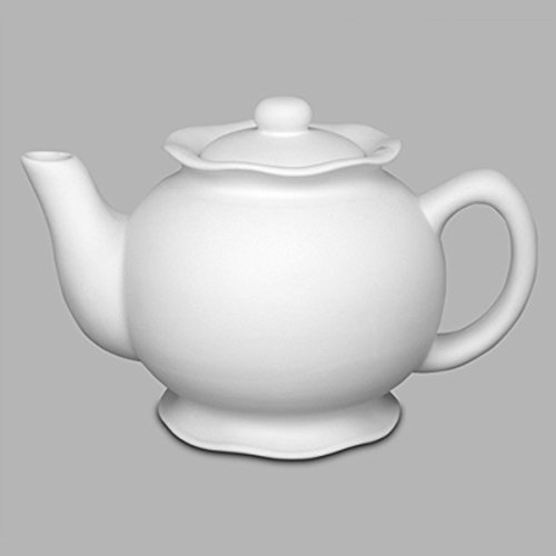 Creative Hobbies Ruffle Teapot, Case of 6, Unfinished Ceramic Bisque, With How To Paint Your Own Pottery Booklet