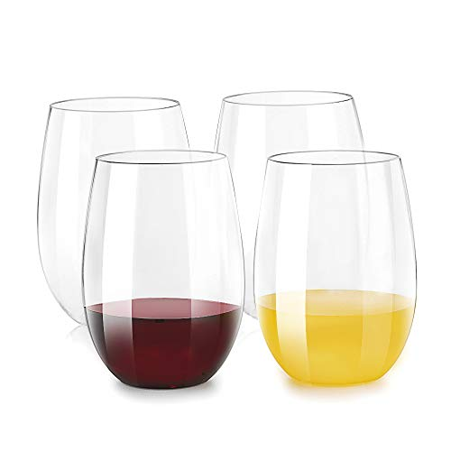 Inewex Unbreakable Plastic Stemless Wine Glasses 16 oz