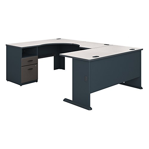 (Bush Business Furniture Series A 60W x 93D U Shaped Desk with 2 Drawer Pedestal in Slate and White Spectrum)