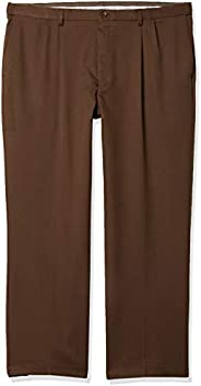 Haggar Mens Cool 18 Pro Classic Fit Pleat Front Expandable Waist Pant