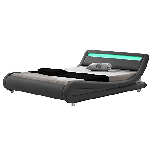 - Modern Contemporary Wave-Like Curve Upholstered Platform Bed LED Lights Low Profile Venice (Grey, Queen)