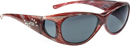 Fitovers Eyewear - Lotus Collection Designed to Fit Over Medium Oval Frames Not Exceeding 141mm X 40mm - Claret Stripe/polarized Grey