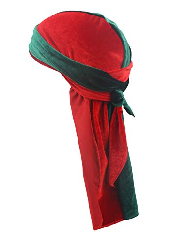 PLOVZ Men's Women's Two-Tone Velvet Durag Cap Headwrap with Long and Wide Strap (Green and Red)