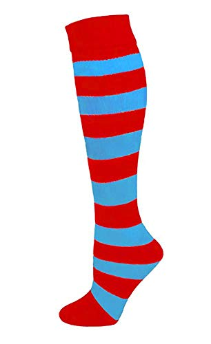 Adult Red/Blue Striped Thing Knee Socks (Large (Men))