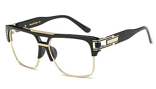 Men's VINTAGE HIP HOP RAPPER Style Clear Lens EYE GLASSES Large Gold Frame (Black, - Hip Frames Glasses Hop
