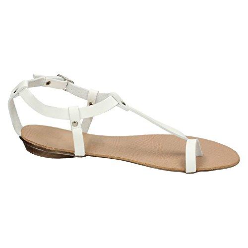 Spot On F0570 Flat Toeloop Sandal Ankle Strap White zl5szWxi