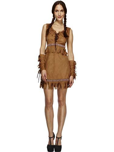 3 PC Native American Indian Pocahontas Tan Fringe Dress w/Arm Cuffs Costume -
