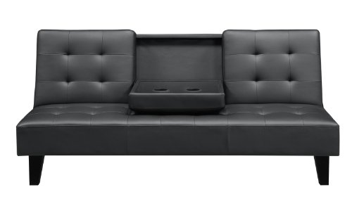 DHP Julia Convertible Entertainment Futon Couch with Cup Holder, Multifunctional, Black Faux Leather