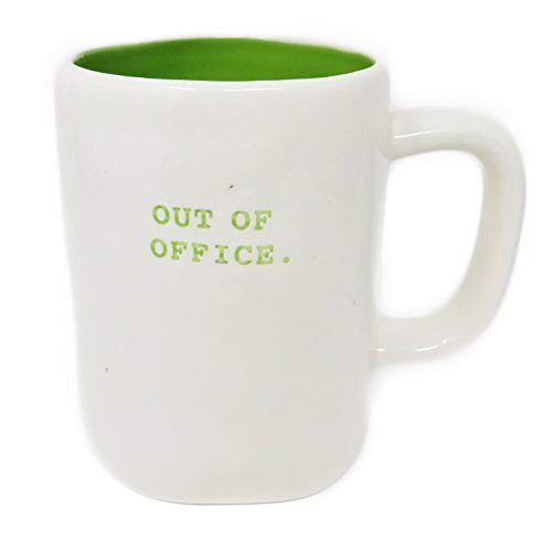Rae Dunn OUT OF OFFICE Small Typewriter Letters Light Green Interior 16 Ounce Mug By Magenta