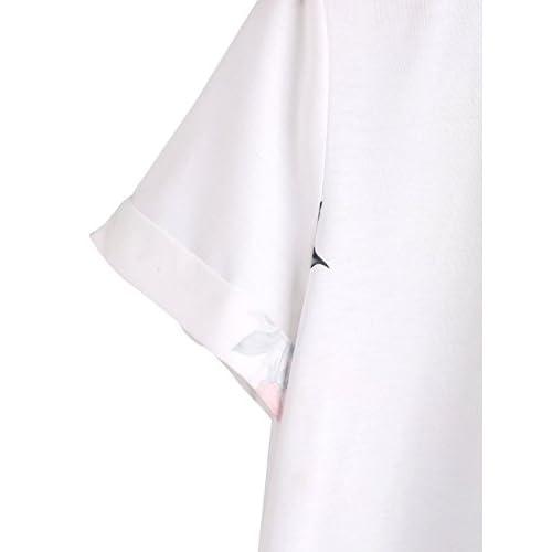 73260ab53b SheIn Women's Casual Round Neck Rose Floral Print Short Sleeve Summer Tee  Tshirt