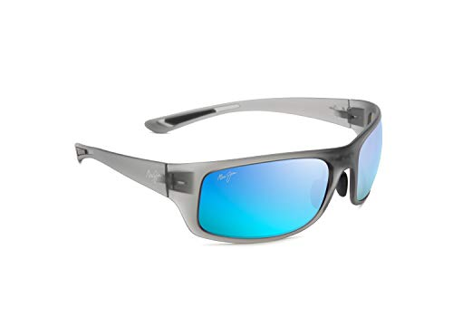 b81fe5ae44 Maui Jim Big Wave B440-11M | Polarized Translucent Matte Grey Wrap Frame  Sunglasses, Blue Hawaii Lenses, with Patented PolarizedPlus2 Lens Technology