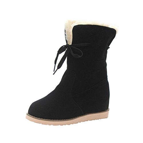 Ugg Quality Boots High (Creazy Ladies Womens Low Wedge Biker Ankle Trim Flat Ankle Warm Martin Boots Shoes (Black, 40))