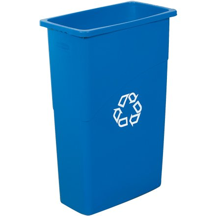 Box King RUB138 Slim Jim Recycling Container, 23 gal, 20'' Depth, 11'' Width, 30'' Height, Blue
