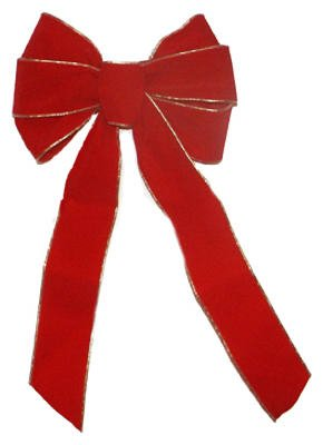 Loop Edge Trim - HOLIDAY TRIM 7715 7 Loop Velvet Bow for Decoration, Red/Gold