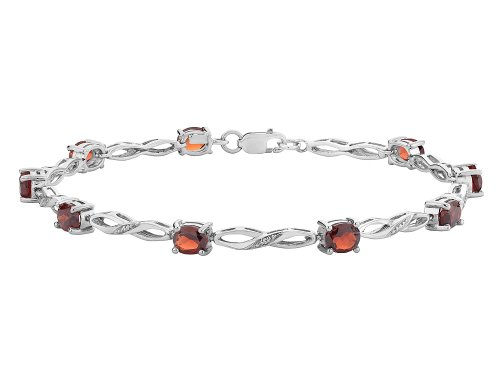 2 Ct Garnet Bracelet - Garnet Infinity Bracelet with Diamonds 2.00 Carat (ctw) in Sterling Silver