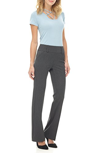 Rekucci Collection Women's Chic Comfort Pull-On Bootcut Pants (0,Charcoal)