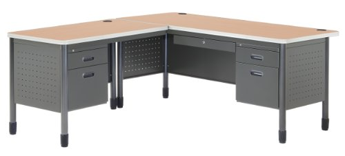 OFM Mesa Series L-Shaped Steel Office Desk with Laminate Top, Left Pedestal Return and Maple Top - Durable Corner Utility Desk (66366L-MPL) Drawer Pedestal Executive Desk