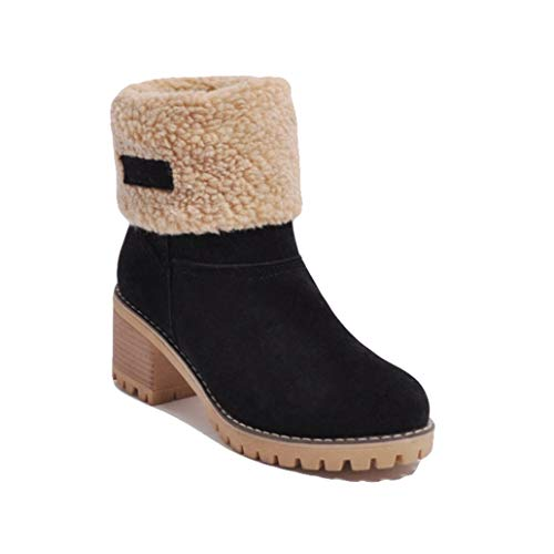York Zhu Women Boots,Slip-on Mid-Calf Fashion Snow Bootie Women Boots Ankle Brown ()