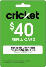 Cricket Refill Card $40 Cricket Wireless Refill Card $40 by $40 Refill Card (Image #1)