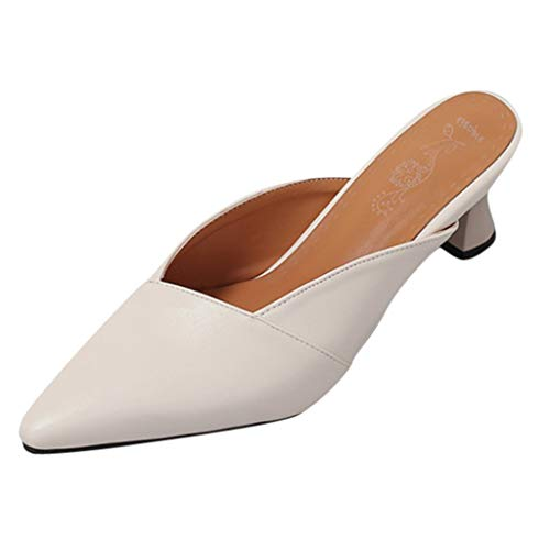 Summer Women's Casual Pointed Toe Sandals,2019 Wild High Heeled Lightweight Soft Elegant Slippers Sandals (White, US:6)