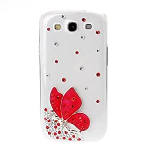 Bkjhkjy 3D DIY Crystal Stereo Butterfly Elf Plastic Case for Samsung Galaxy S3 i9300 , Blue