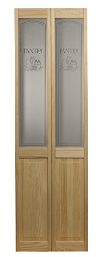 "Pinecroft 864720 Pantry Half Glass Bifold Interior Wood Door, 24"" x 80"", Unfinished"