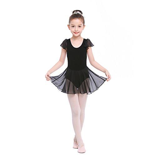 STELLE Girls' Cotton Ruffle Short Sleeve Dress Leotard for Dance, Gymnastics and Ballet (Toddler/Little Kid/Big Kid)