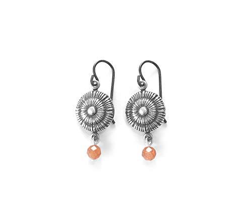 Sunstone Earrings - Sun Goddess Gemstone Jewelry - Handmade earrings - Sterling silver with hypoallergenic niobium ear ()