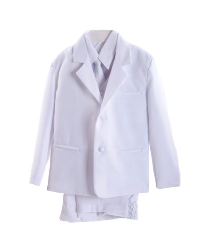 White Little Boys Tuxedo Suit, Jacket, Shirt, Vest, Tie & Pants