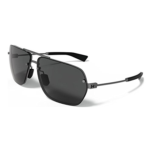 Under Armour Hi Roll 8600084-910100 Aviator Sunglasses, Satin Gunmetal/Satin Black, 64 - Logo Luxury Black Sunglasses