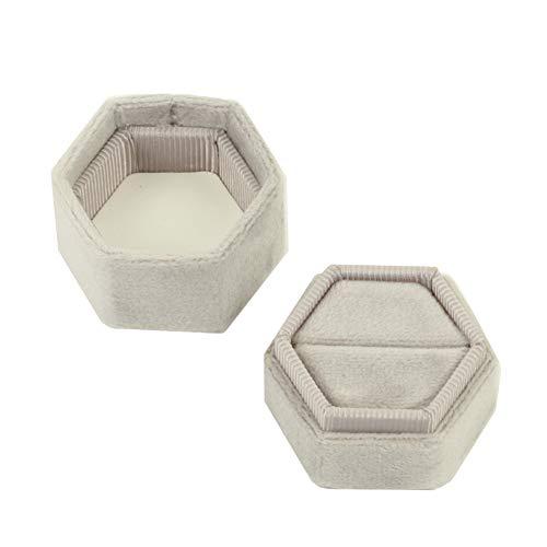 (Koyal Wholesale Velvet Ring Box, Light Gray, Hexagon Vintage Wedding Ceremony Ring Box with Detachable Lid, 2 Piece Engagement Ring Box Holder, Modern Proposal Idea, Slim Ring Box Display)