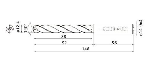 12.4 mm Cutting Dia 2.3 mm Point Length 14 mm Shank Dia. 5 mm Hole Depth Mitsubishi Materials MMS1240X5DB MMS Series Solid Carbide Drill Internal Coolant