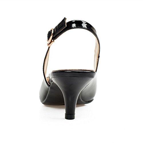 AgooLar Mujeres Hebilla Puntera Cerrada Tacón de aguja Sólido Sandalia Negro