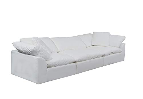 Sunset Trading SU-1458-81-2C-1A Cloud Puff 3 Piece Modular Performance White Sectional Slipcovered Sofa,