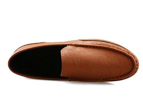 Mocasines cómodos Cuero simple Deslizamiento-ons La manera antideslizante baja Los zapatos suaves de los hombres del ocio de la manera antideslizante Tamaño de la UE 38-44 White