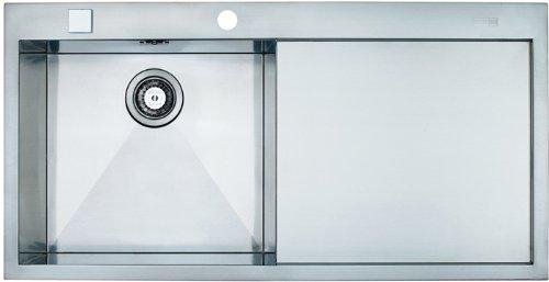 Franke flush mount inset sink Planar PPX 211 smooth stainless steel, SlimTop, basin left, 1270197845