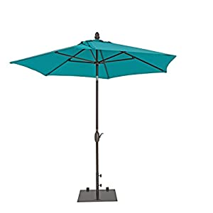 Patio Umbrella - TrueShade Plus Garden Parasol Umbrella with Push Button Tilt and Crank. Includes Storage Cover - Freestanding or Table Hole. - 9' Diameter - Antique Beige