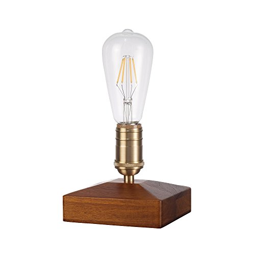 Starthi Vintage Table Lamp, Walnut Wood Desk Lamp with Dimmable Switch Brass Copper Lamp Base Retro Cigar Box Lamp Brass Copper Night Light