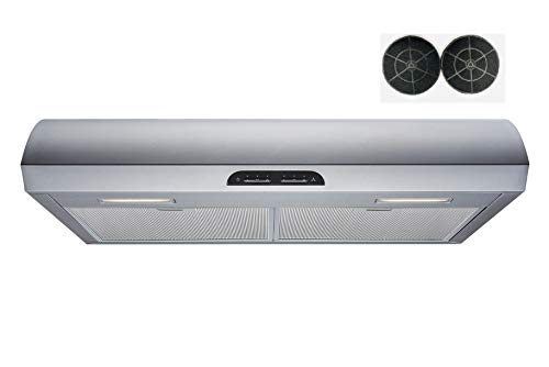 30 in. Convertible 480 CFM Under Cabinet Range Hood in Stainless Steel with Mesh, Charcoal Filters and Touch Controls
