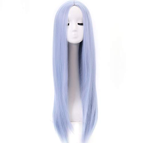 BESTUNG Light Blue Wig Pastel Straight Long Wigs Middle Parting Synthetic Colored Halloween Cosplay Full Head Wigs (Light Blue)