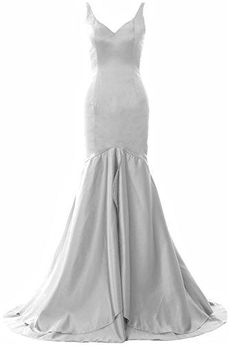 Long Evening V Mermaid Gown Formal Weiß MACloth Tiered Prom Dress Women Neck Satin Ev4ZxXwq